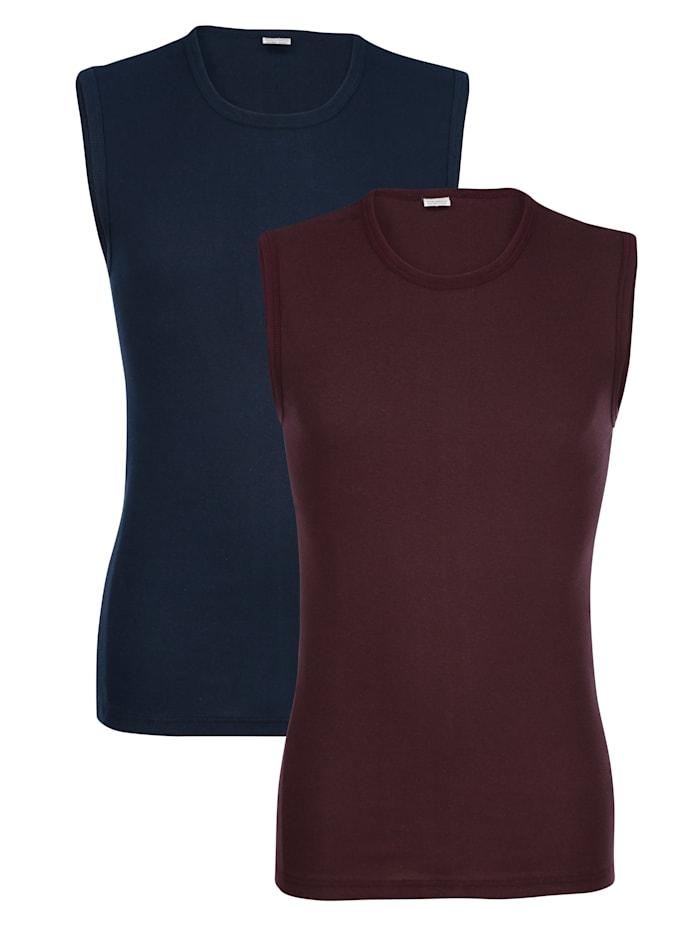 Mouwloze shirts, Marine/Aubergine
