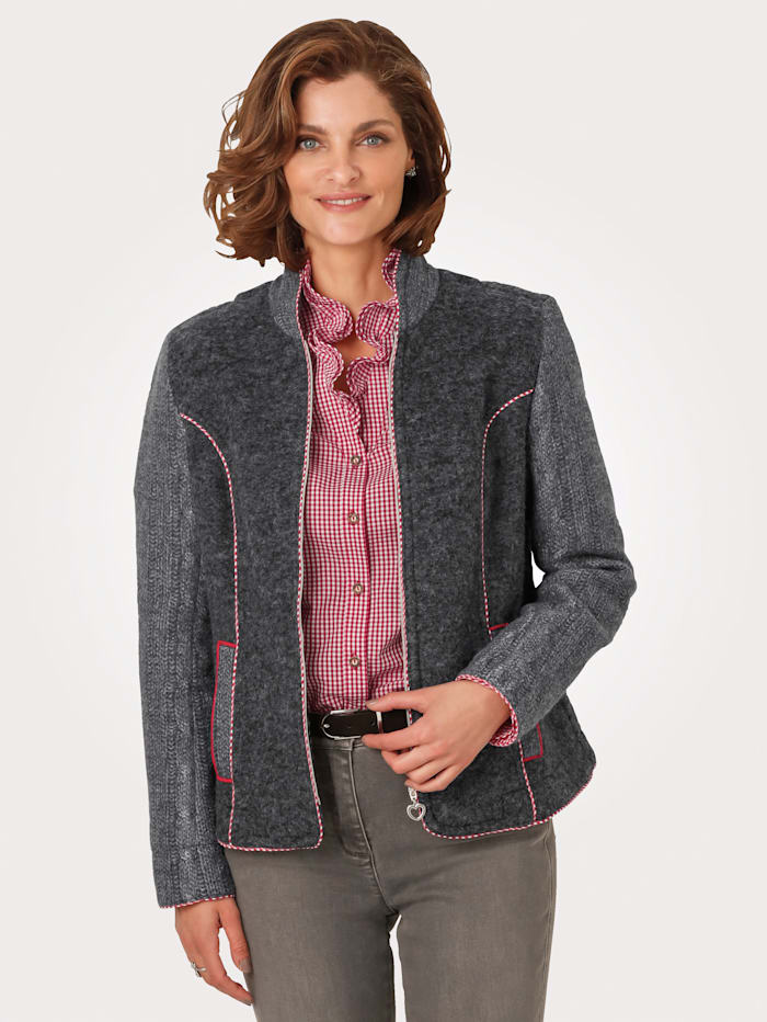 MONA Blazer with gingham piping, Grey