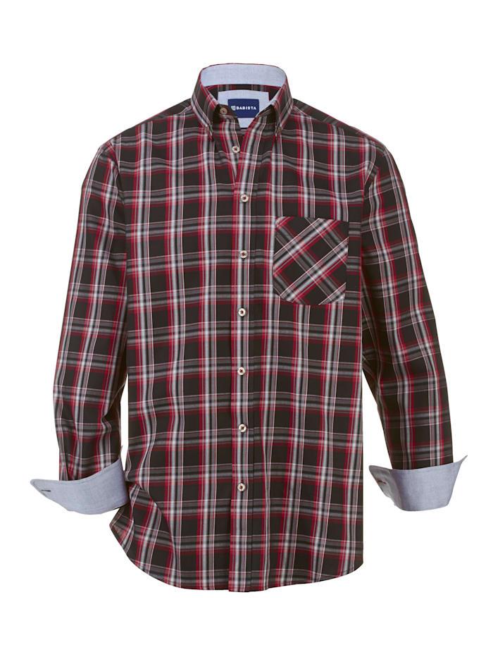 BABISTA Overhemd van zuiver katoen, Zwart/Rood