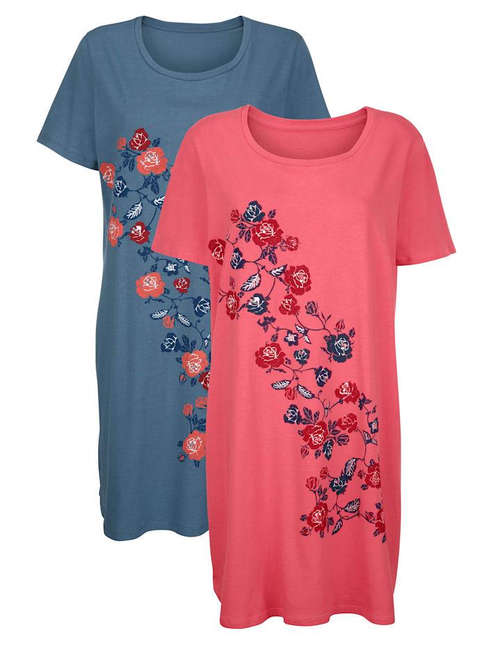 Blue Moon Nachthemd met bloemenmotief, Koraal/Blauw