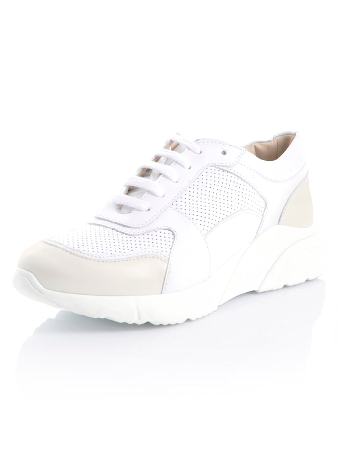 Alba Moda Sneaker aus weichem Leder, Weiß