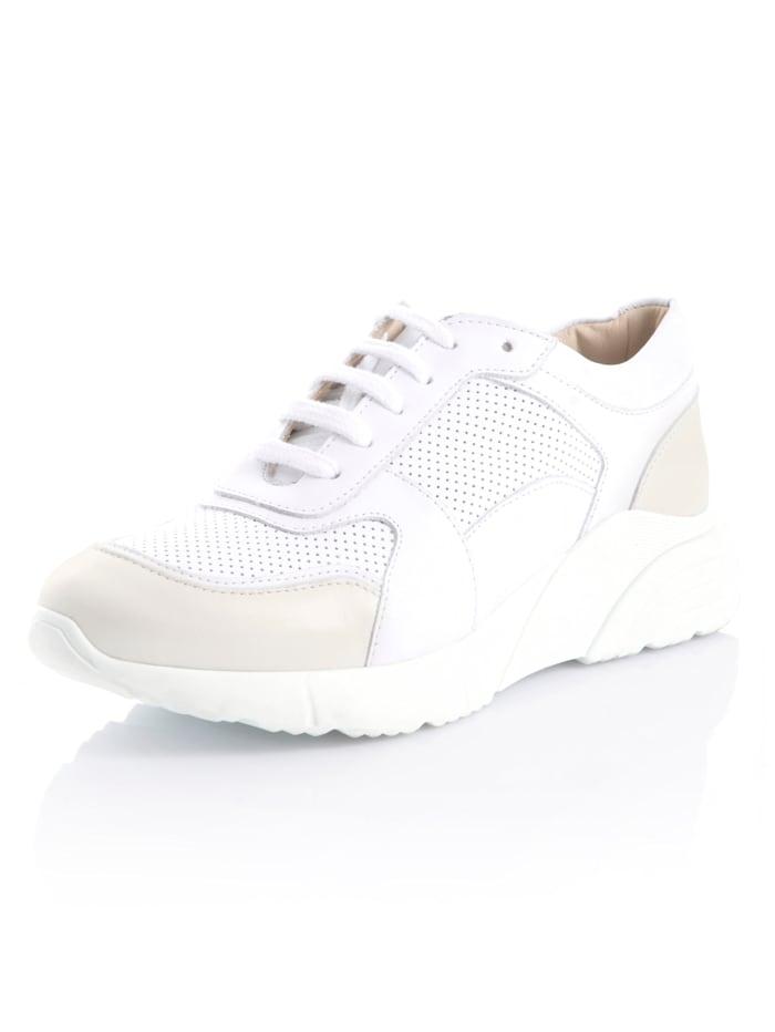 Alba Moda Sneakers av mjukt skinn, Vit