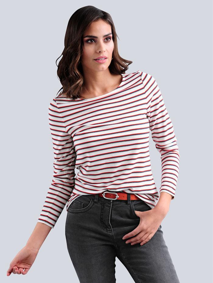 Alba Moda Shirt im maritimen Streifen-Dessin allover, Off-white/Orange/Marineblau