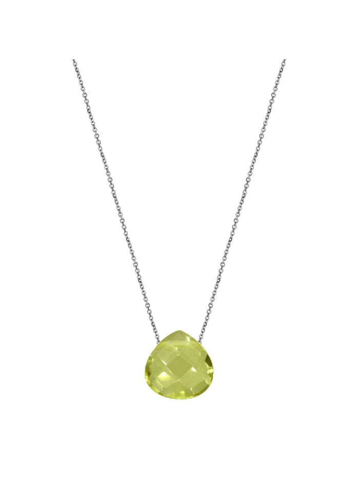 ZEEme Collier 925/- Sterling Silber Lemon Quarz grün 42+3cm Glänzend, weiß
