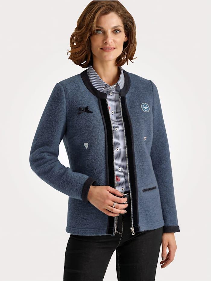 MONA Blazer made from a soft wool blend, Blue/Dark Blue