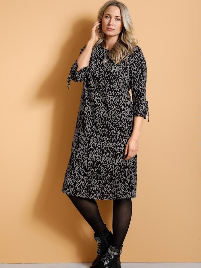 MIAMODA Kleid mit Herzdruckmuster, Schwarz/Beige