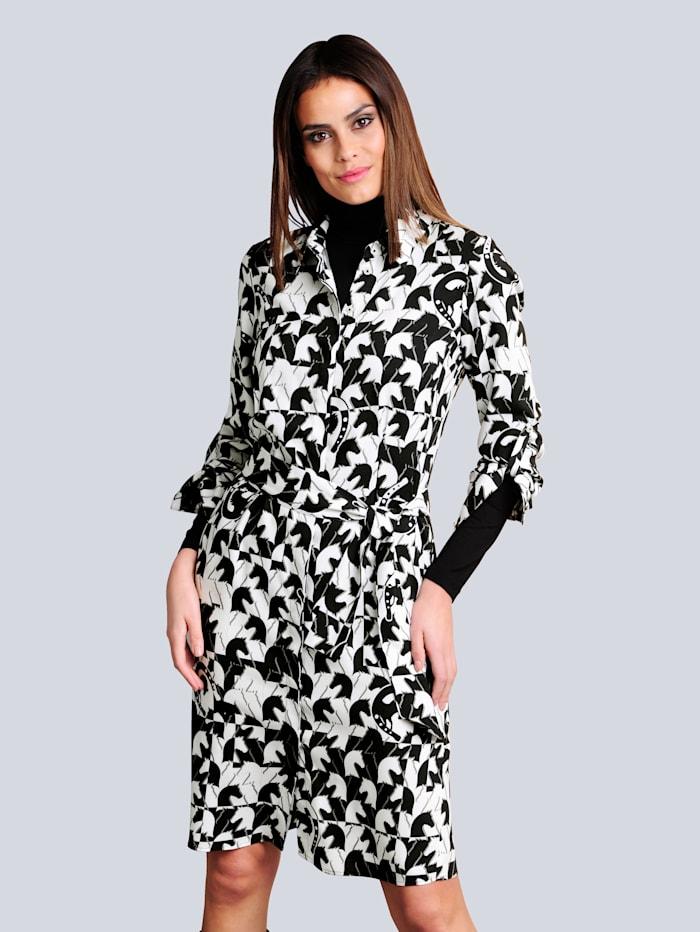 Alba Moda Kleid im exklusiven Druck-Dessin, Off-white/Schwarz/Taupe