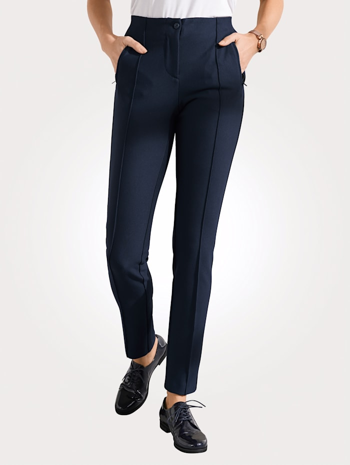 MONA Trousers made from soft jersey, Navy