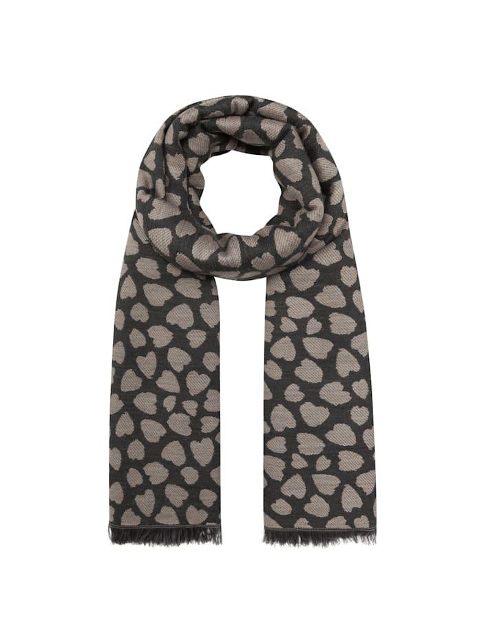 Codello Oversized-Schal mit stilisiertem Herzchen-Print, camel