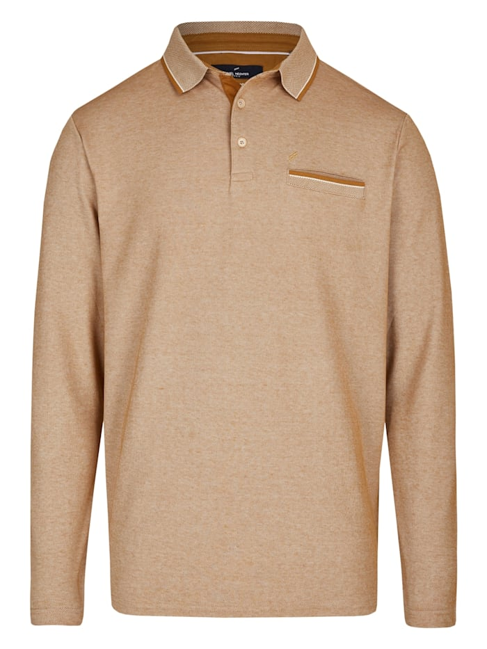 Daniel Hechter Langarm Poloshirt, camel