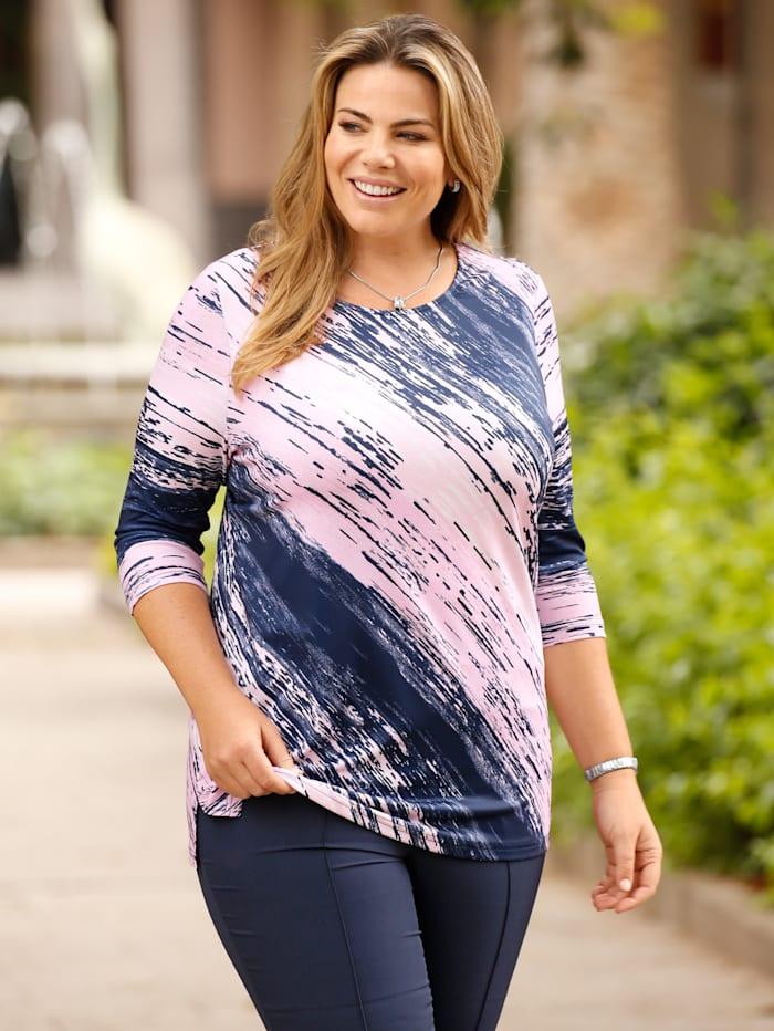 m. collection Shirt met geraffineerde diagonale strepen, Marine/Roze/Wit