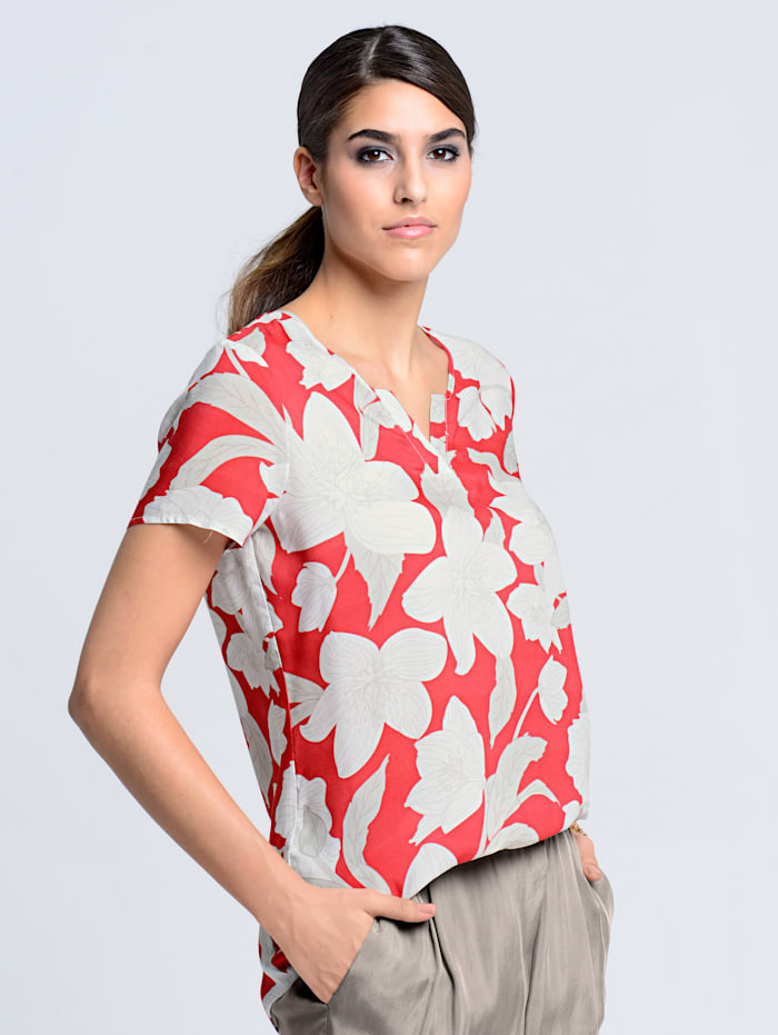Alba Moda Blusenshirt mit edlem Blumenprint, Koralle/Weiß