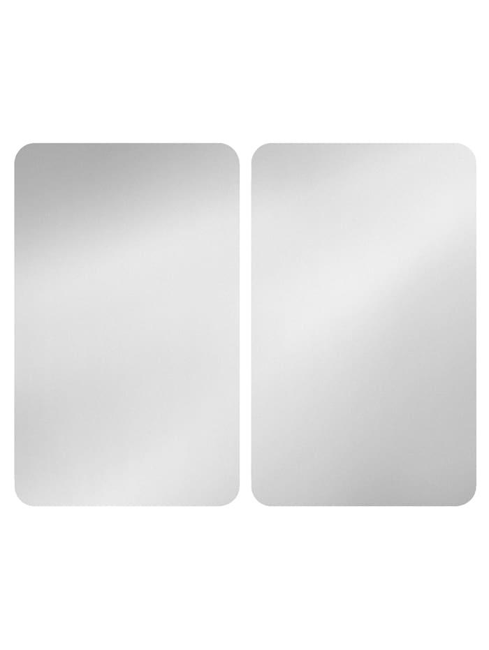 Wenko 2er-Set Herdabdeckplatten 'Silber', silberfarben