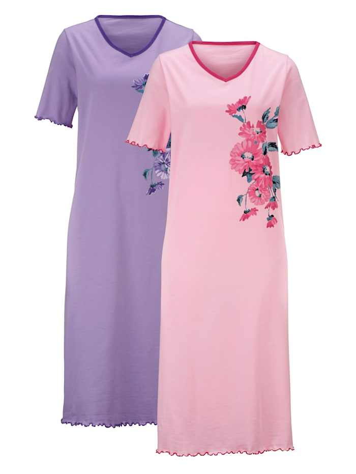Harmony Nachthemden met bloemendessin, Roze/Lila