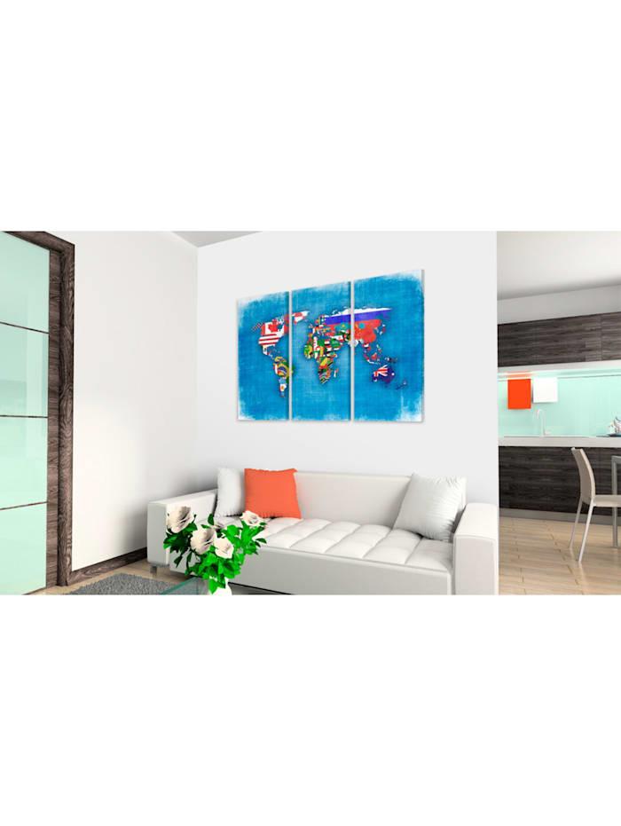 Wandbild Fahnen der Welt - Triptychon