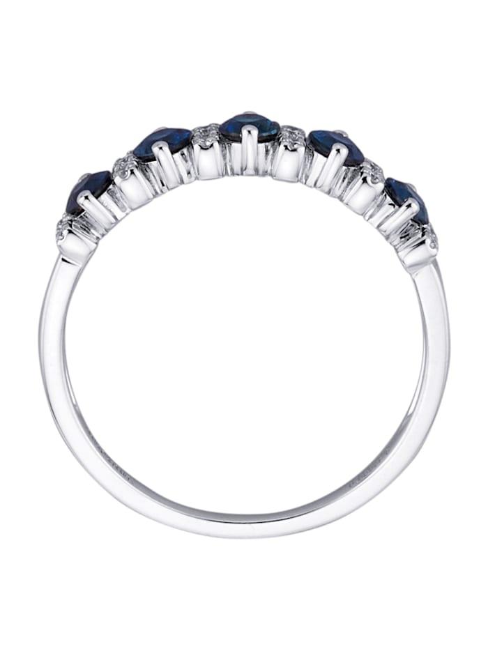 Damesring met diamanten en saffieren
