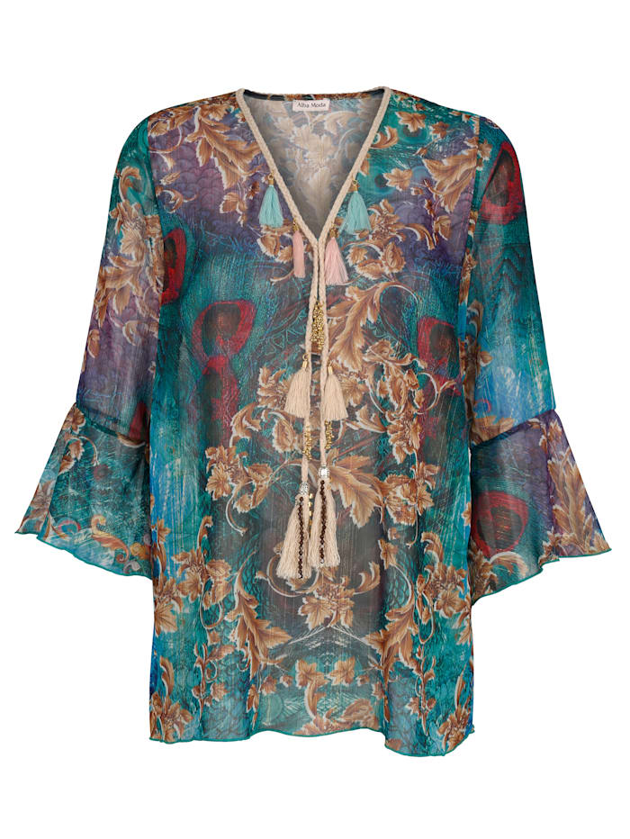 Alba Moda Tunikabluse mit Zierquasten, Multicolor