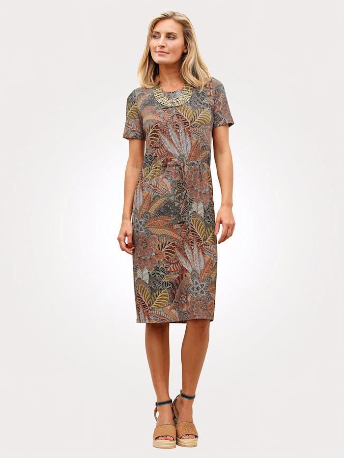 MONA Jersey dress with a stunning floral print, Orange/Green/Brown