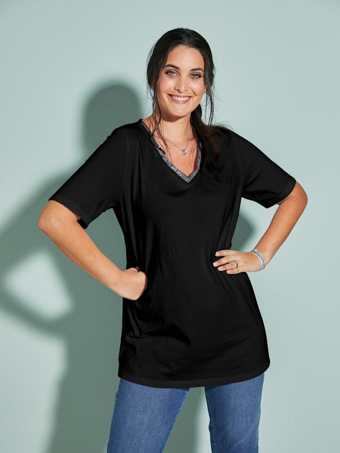 MIAMODA Shirt mit streckendem V-Ausschnitt, Schwarz