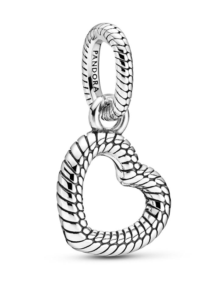 Pandora Kettenanhänger - Schlangengliedermuster offenes Herz - 399094C00, Silberfarben