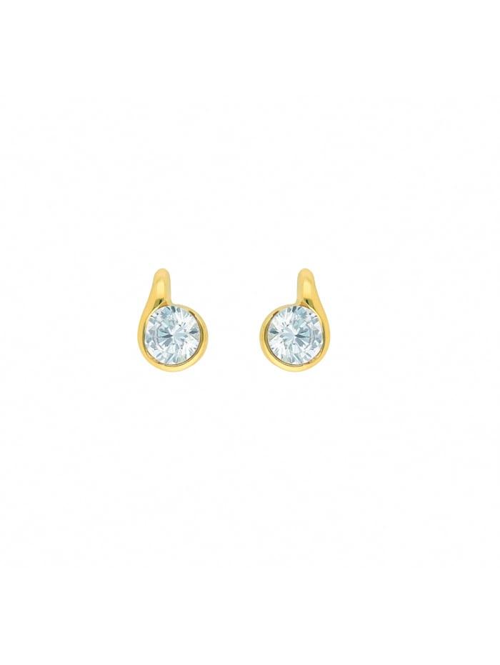 1001 Diamonds Damen Goldschmuck 585 Gold Ohrringe / Ohrstecker mit Zirkonia, gold