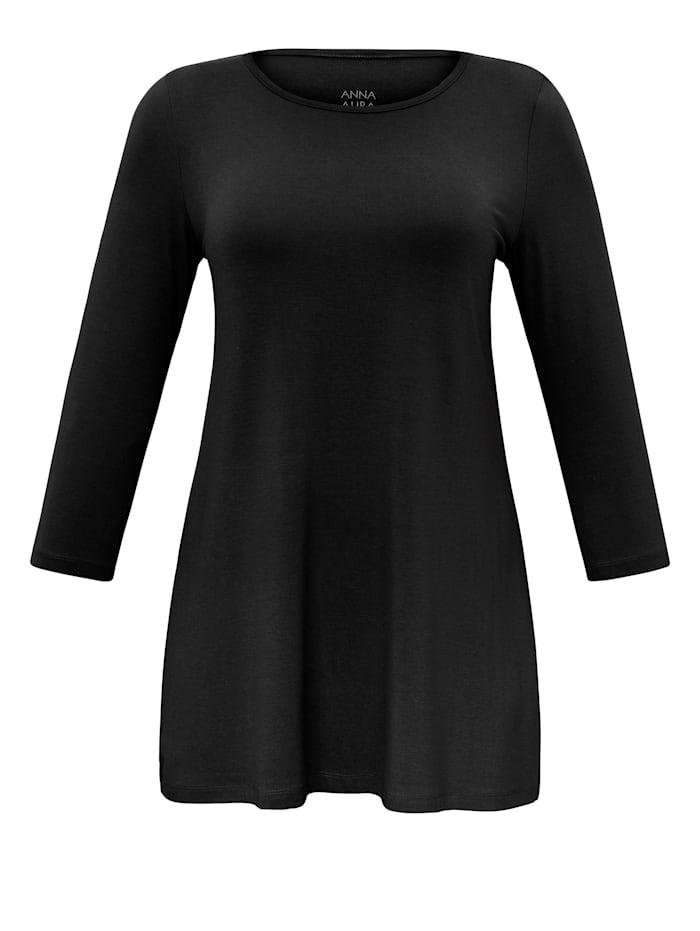 Anna Aura Rundhalsshirt im lässigen Schnitt ausgestellte Form, schwarz