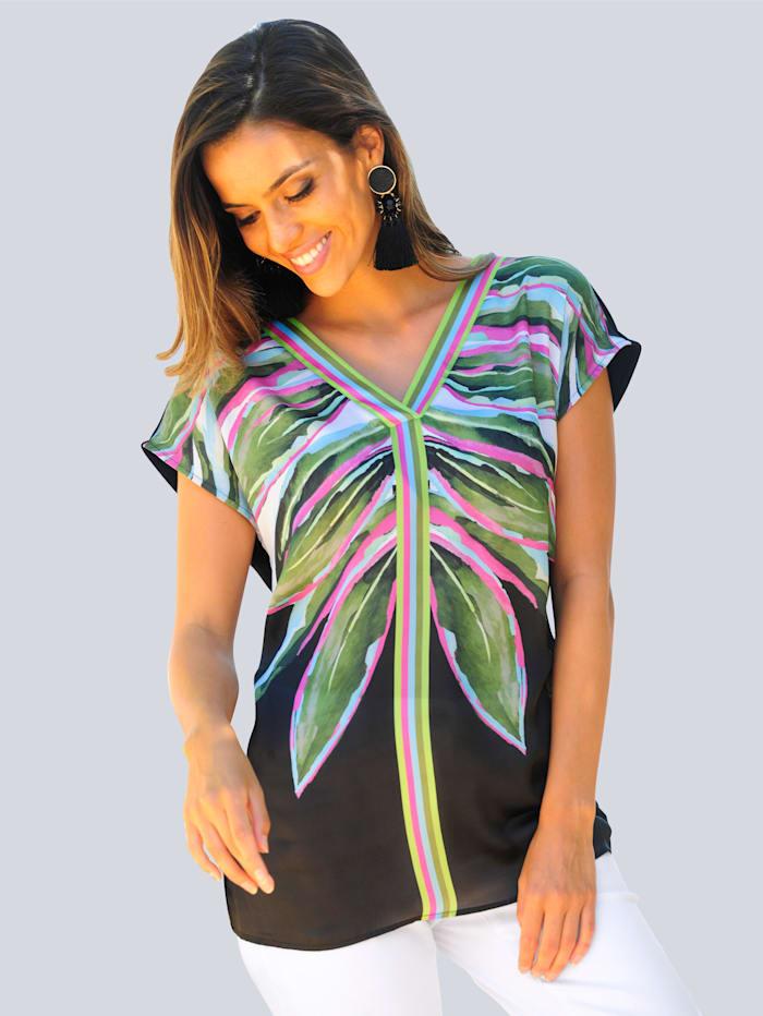 Alba Moda Strandshirt mit Vorderteil aus Satin, Schwarz