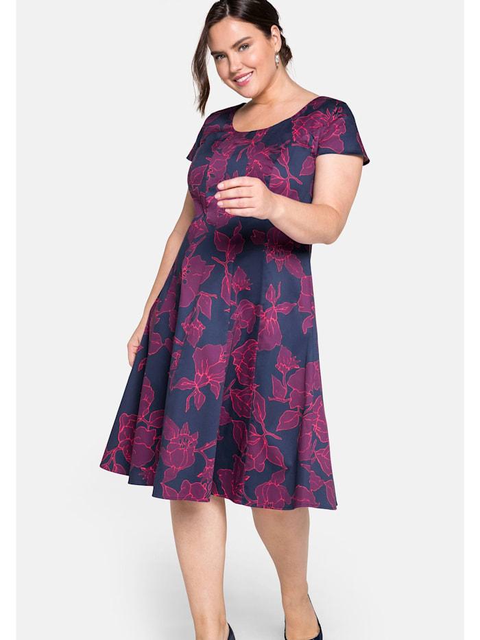 Sheego Bahnenkleid mit floralem Alloverprint, marine bedruckt