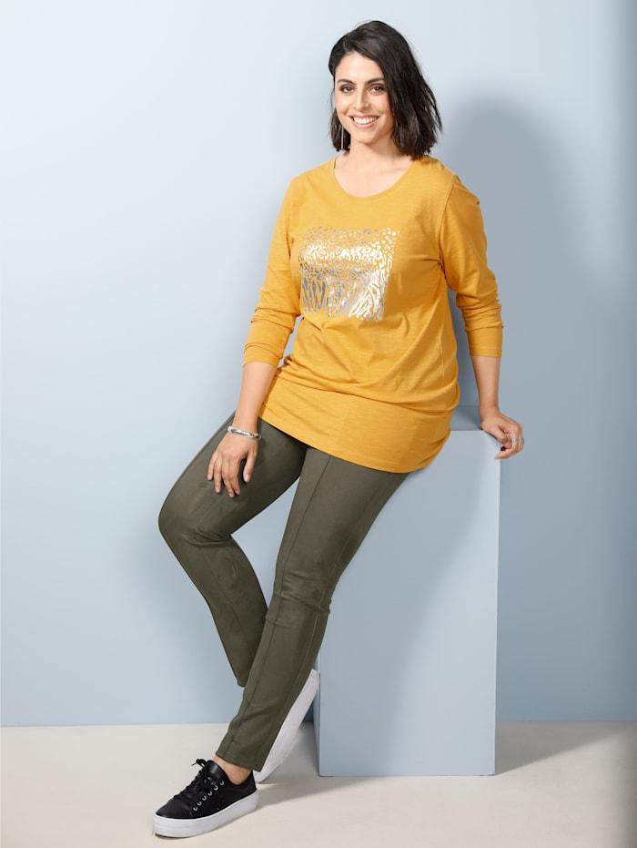 MIAMODA Longshirt met folieprint, Geel