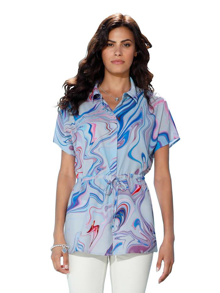 AMY VERMONT Bluse mit Farbverlauf, Weiß/Hellblau/Lila