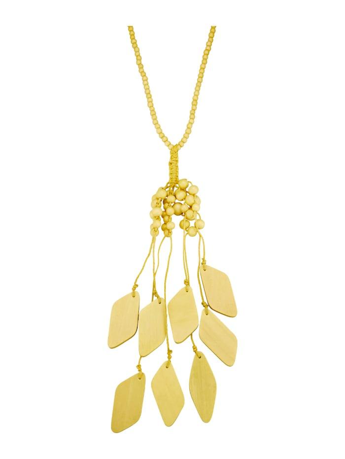 Halskette mit Holzelementen, Gelb