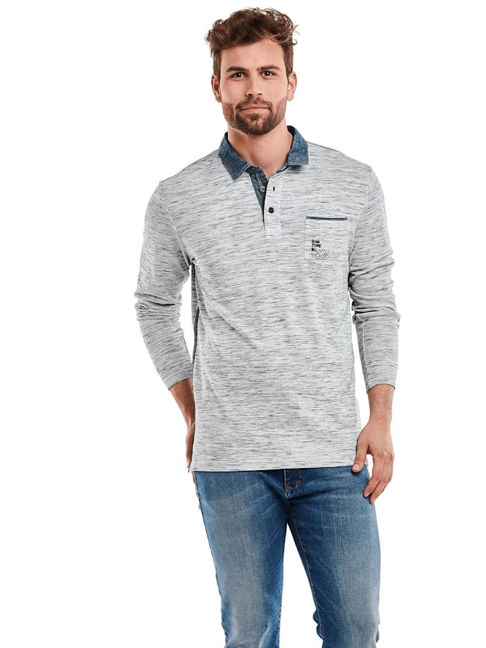 Engbers Kontrast Poloshirt langarm, Silbergrau