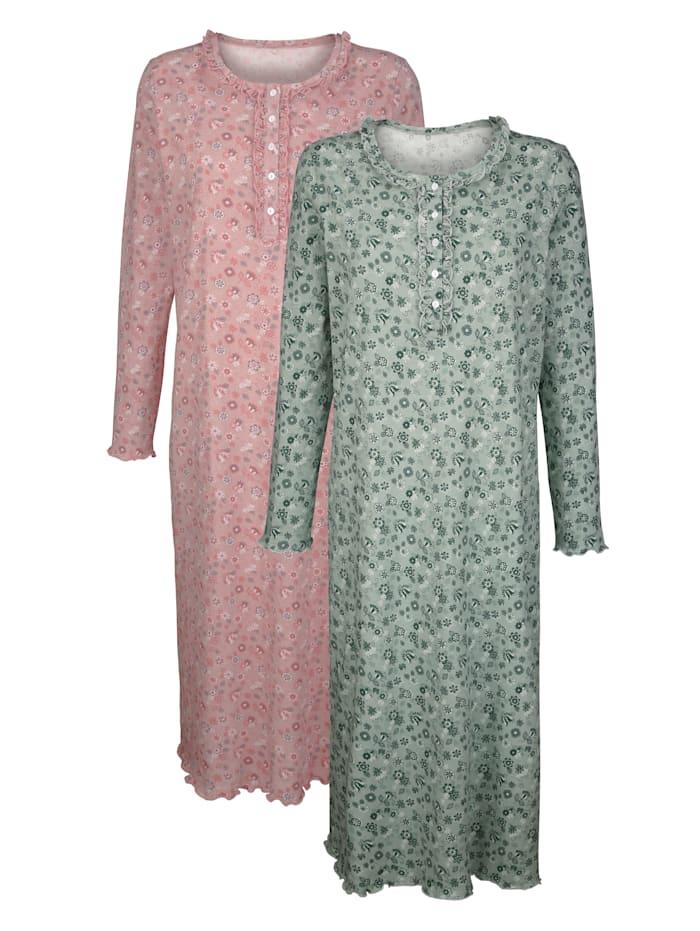 Nachthemden mit dekorativem Wellensaumabschluss 2er Pack
