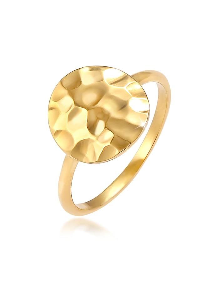 Elli Ring Dot Plättchen Gehämmert 925 Silber, Gold