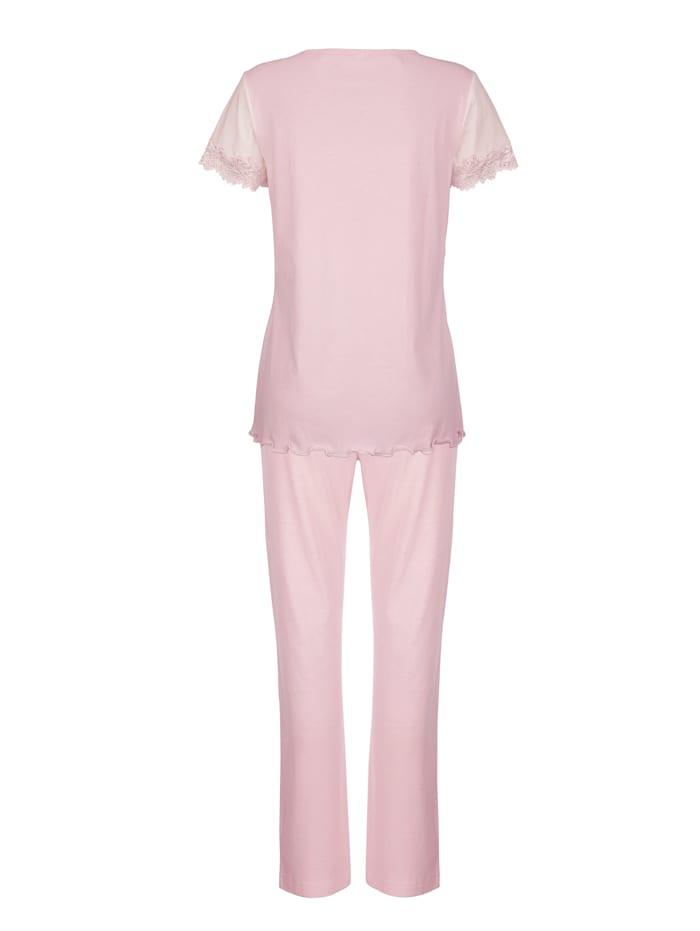 Pyjama met contrastkleurige inzetten