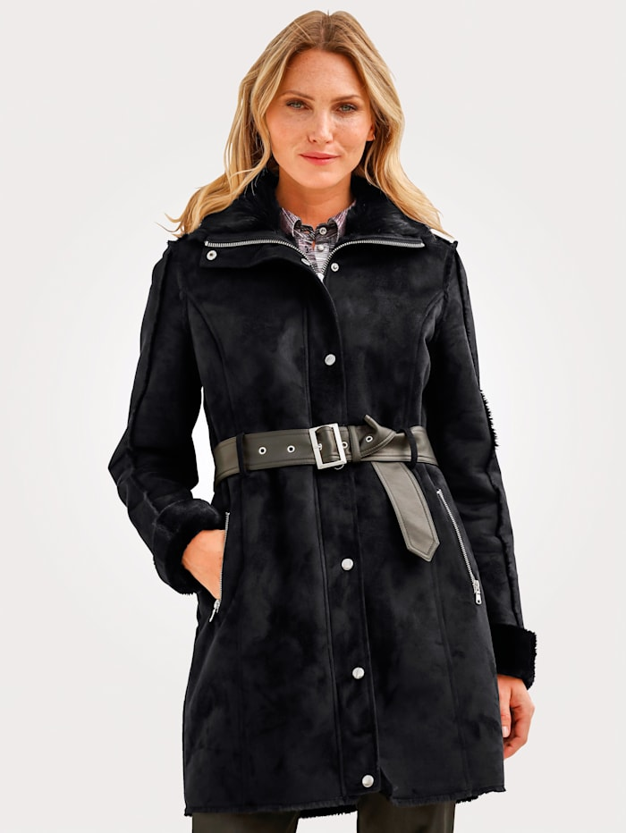 MONA Faux leather jacket with faux shearling detailing, Black