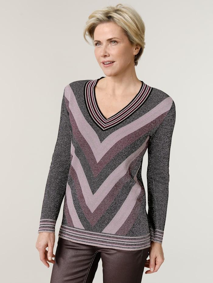 MONA Pullover mit effektvollem metallisiertem Garn, Beere/Schwarz/Rosé