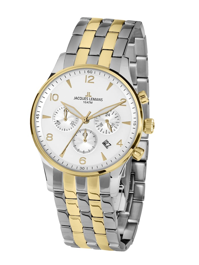 Jacques Lemans Herren-Uhr Chronograph Serie: London, Kollektion: Classic 1-1654.2ZH, Silberfarben/Gelbgoldfarben