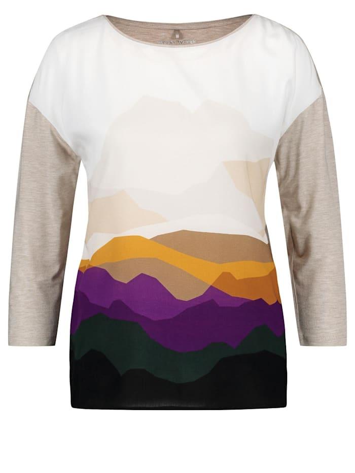 Gerry Weber 3/4 Arm Shirt Mountains, Ecru/Weiss/Lila/Pink Druck