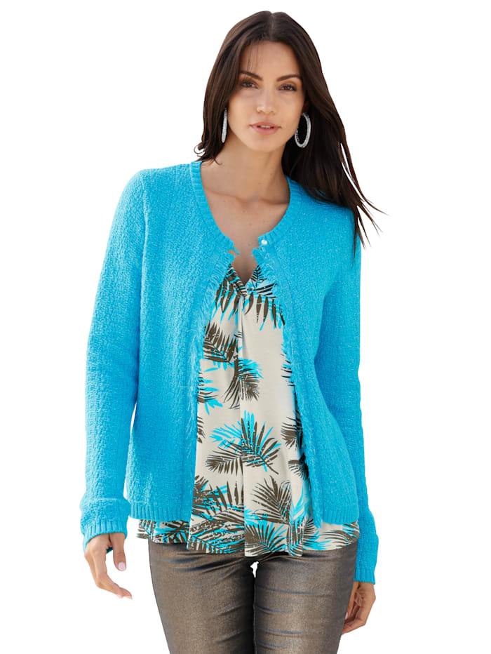 AMY VERMONT Vest met mooie glans, Turquoise