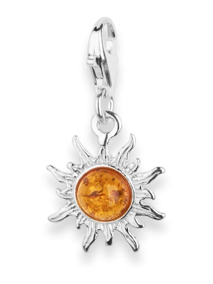 OSTSEE-SCHMUCK Charm-Einhänger - Sonne 14 mm - Silber 925/000 - Bernstein, silber