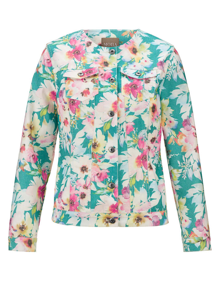 Jeansjacke mit floralem Druckdessin