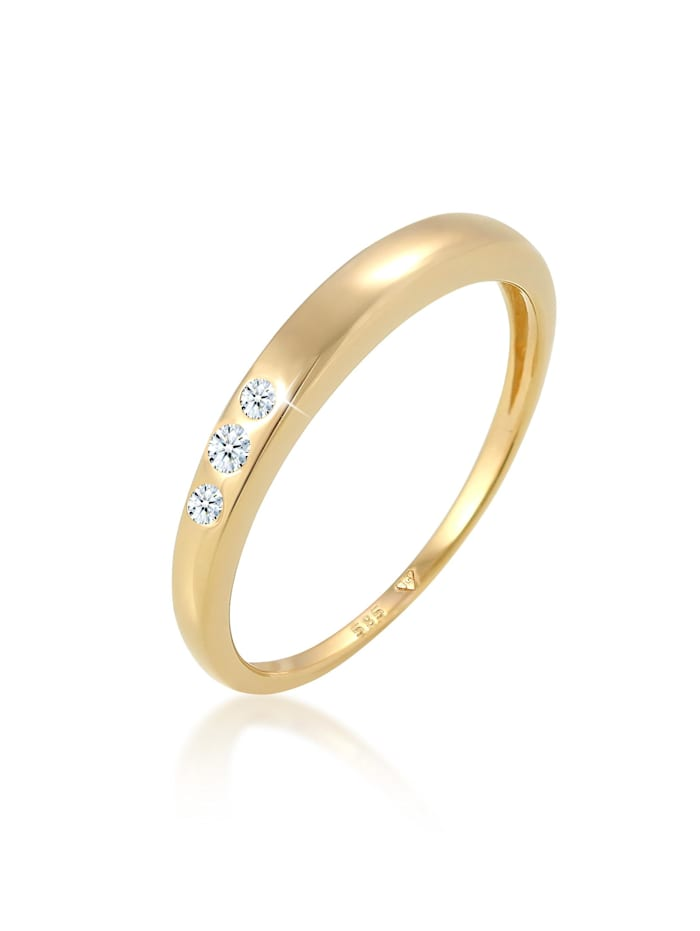 DIAMORE Ring Verlobung Trio Diamant (0.06 Ct.) 585 Gelbgold, Gold