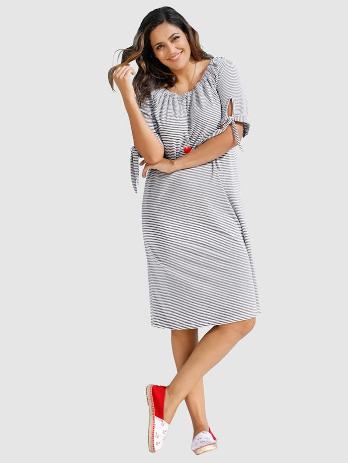 MIAMODA Jerseykleid mit elastischem Ausschnitt, Grau/Weiß