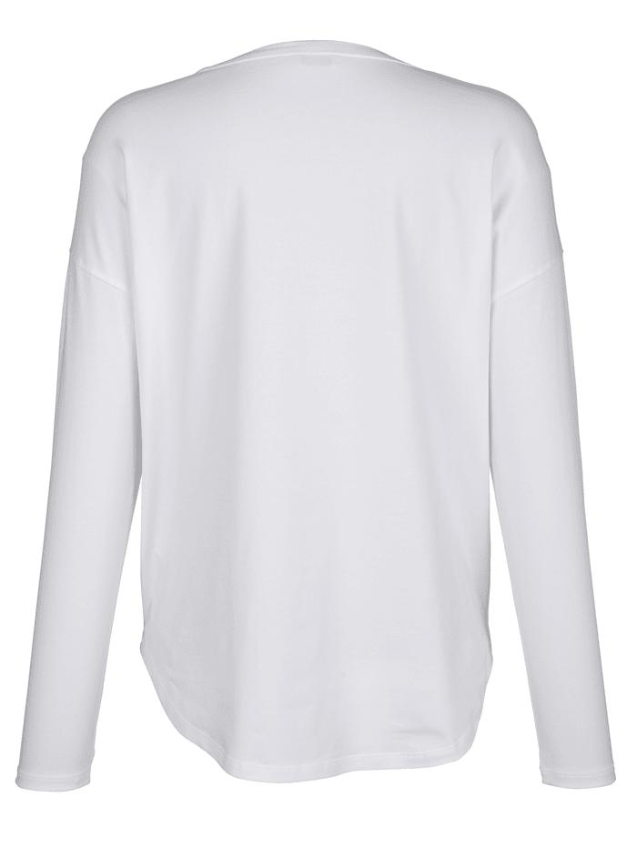 Langarmshirt mit Fotoprint im Vorderteil und Glitzerumrandung