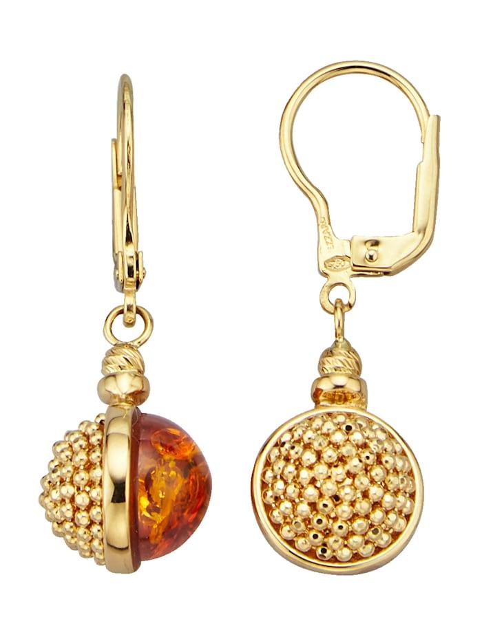 Diemer Gold Ohrringe mit Bernsteinen, Orange