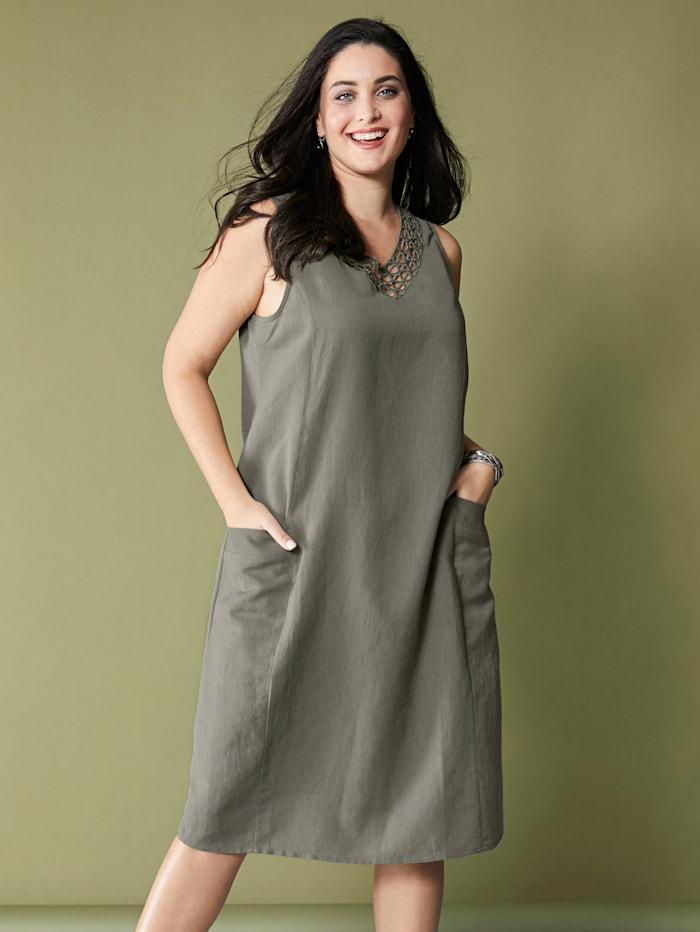 MIAMODA Kleid aus Baumwoll-Leinen Material, Schilf