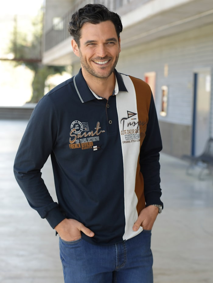 BABISTA Poloshirt met print en borduursel, Marine/Bruin