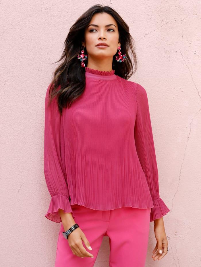 AMY VERMONT Bluse allover plissiert, Pink