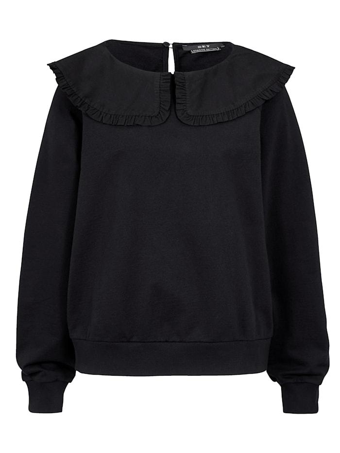 SET Sweatshirt mit Bubikragen, Schwarz